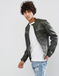 Goosecraft Leather Biker Jacket in Brown - Brown
