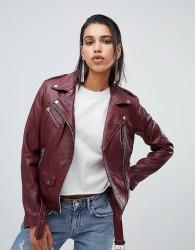 Goosecraft leather biker jacket in plum - Purple