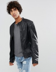 Goosecraft Leather Biker Jacket in Washed Black - Black