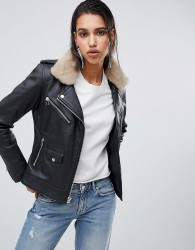 Goosecraft leather biker jacket with faux fur collar - Black