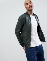 Goosecraft Leather Bomber Jacket in Forest Green - Green