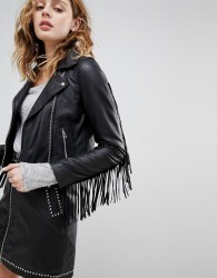Goosecraft Leather Festival Biker Jacket with Fringing - Black