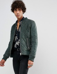 Goosecraft Leather Quilted Bomber Jacket in Khaki - Green
