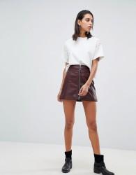 Goosecraft leather skirt with exposed zip - Purple