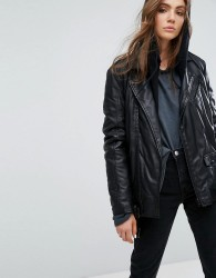Goosecraft Long Line Leather Biker Jacket - Black