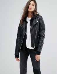Goosecraft Rib Detail Leather Biker Jacket - Black