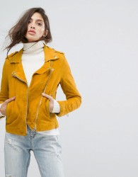 Goosecraft Soft Suede Biker Jacket - Yellow
