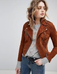 Goosecraft Suede Biker Jacket - Brown