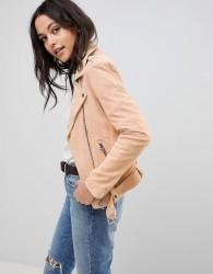 Goosecraft Suede Biker Jacket with Belt - Pink
