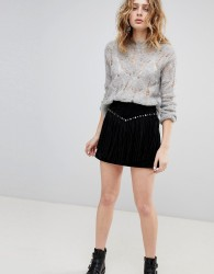 Goosecraft Suede Skirt with Fringing and Studs - Black