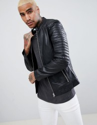 Goosecraft Turin Leather Biker with Quilted Shoulders in Black - Black