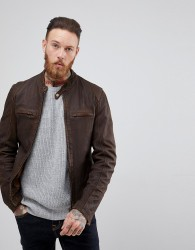 Goosecraft Washingon Leather Jacket with Button Collar in Brown - Brown