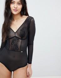 Gossard Glossies Long Sleeve Body - Black