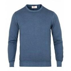 Gran Sasso Vintage Merino Fashion Fit Crew Neck Pullover Denim Blue