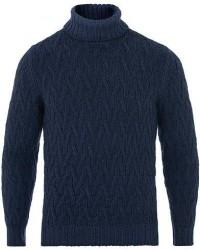 Gran Sasso Vintage Merino Heavy Knitted Roll Neck Navy men 54