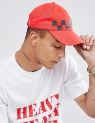Granted Baseball Cap In Red With Checkerboard Print - Red