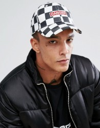 Granted Baseball Cap In White Checkerboard With Danger Print - White