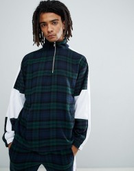 Granted Checked 1/4 Zip Overhead Jacket In Green Check - Green