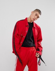 Granted Denim Jacket With Taping And Mesh In Red - Red