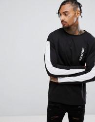 Granted Long Sleeve T-Shirt In Black With Broken Print - Black
