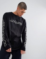 Granted Long Sleeve T-Shirt With Diamantes Sleeve Print In Black - Black