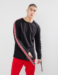 Granted Long Sleeve T-Shirt With Gothic Taping In Black - Black