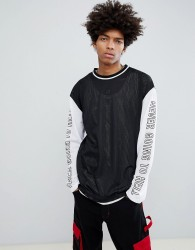 Granted Mesh Long Sleeve T-Shirt With Sleeve Print In Black - Black