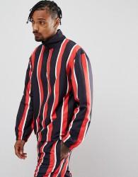 Granted Overhead Windbreaker Jacket In Black Stripe With Half Zip - Black
