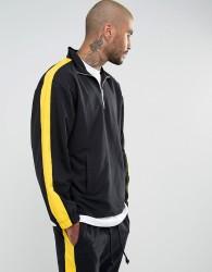 Granted Overhead Windbreaker Jacket In Black With Quarter Zip - Black
