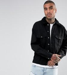 Granted Oversized Denim Jacket In Black With Borg Collar - Black
