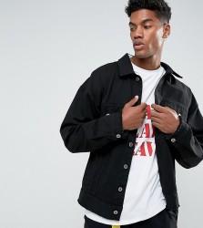 Granted Oversized Denim Jacket In Black With Raw Hem - Black