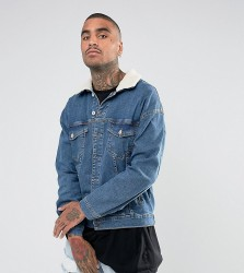 Granted Oversized Denim Jacket In Mid Blue With Borg Collar - Blue