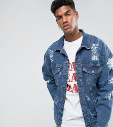 Granted Oversized Denim Jacket In Mid Blue With Distressing - Blue