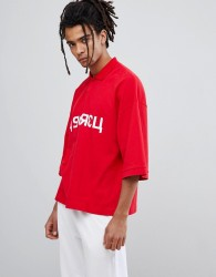 Granted Oversized Polo In Red - Red