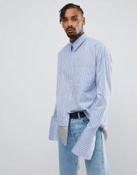 Granted Oversized Shirt In Blue Stripe - Blue