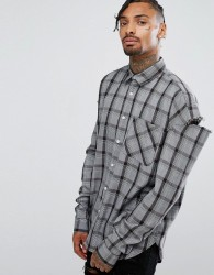 Granted Oversized Shirt In Grey Check With Slashed Sleeves - Grey