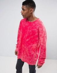 Granted Oversized Sweatshirt In Red With Bleach Effect - Red