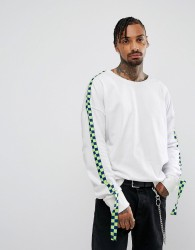 Granted Oversized Sweatshirt In White With Taping - White