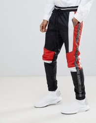 Granted Poly Sports Joggers With Panels In Black - Black