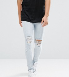 Granted Skinny Jeans In Light Blue With Knee Rips And Zip Ankle - Blue