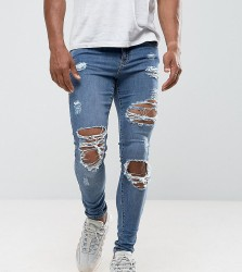 Granted Skinny Jeans In Mid Blue With Distressing - Blue
