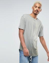 Granted Striped Longline T-Shirt - Green