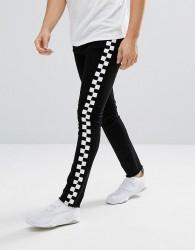 Granted Super Skinny Jeans In Black With Checkerboard Print Stripe - Black