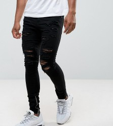 Granted Super Skinny Jeans In Black With Distressing And Zip Ankle - Black