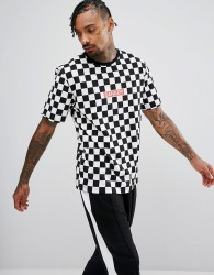 Granted T-Shirt In Checkerboard With Danger Print - White