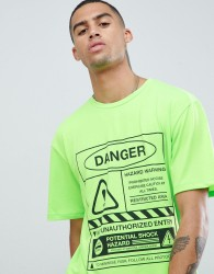 Granted T-Shirt In Green With Danger Print - Green