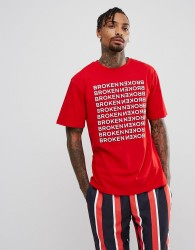 Granted T-Shirt In Red With Broken Repeat Print - Red