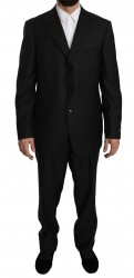 Gray Striped 2 Piece 3 Button Wool Suit