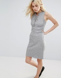 Greylin Freija Rib Knit Cut Out Dress - Grey