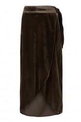 Gustav - Wrap-around skirt in velvet - Brown